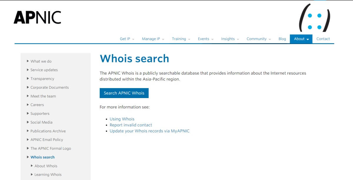 APIC Whois Search
