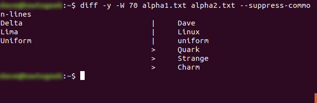 diff -y -W 70 alpha1.txt alpha2.txt --suppress-common-lines
