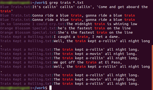 grep train *.txt