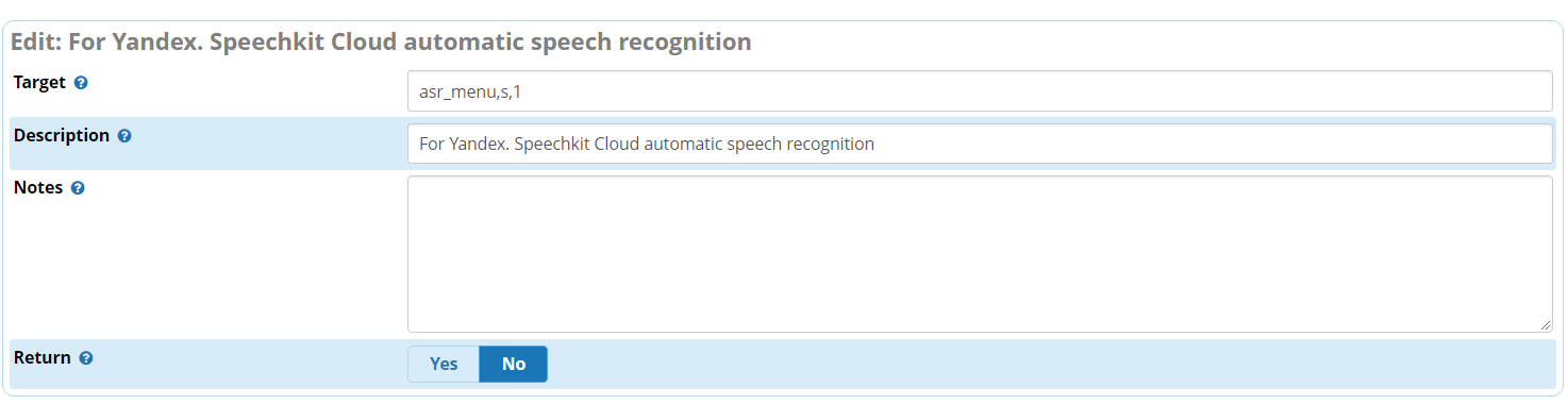 Custom Destinations for speech recognition in FreePBX