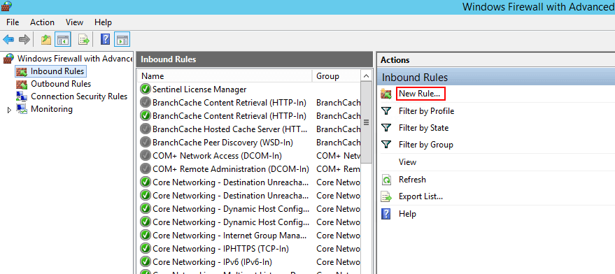 Windows Firewall Inbound Rule для SQL