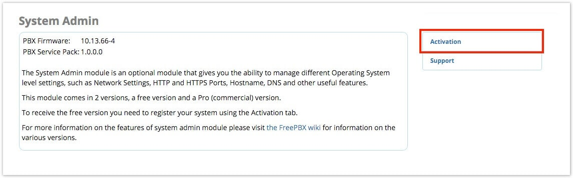 Activation FreePBX 13