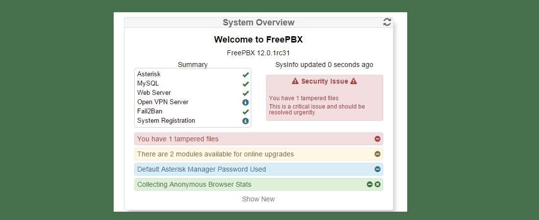 Предупреждения System Overview в FreePBX 13