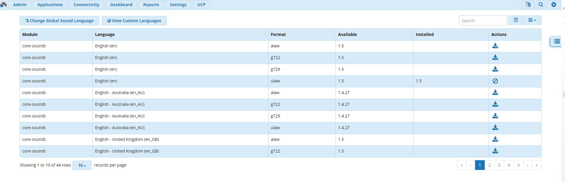 Возможности модуля Sound Languages FreePBX 13