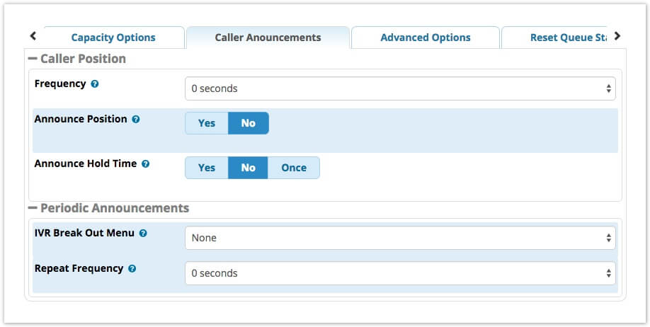 Вкладка Caller Announcements FreePBX13