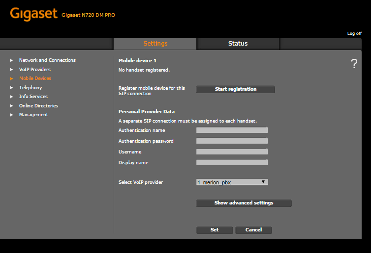 Gigaset  N720 настройка телефона шаг 2 шаг 2