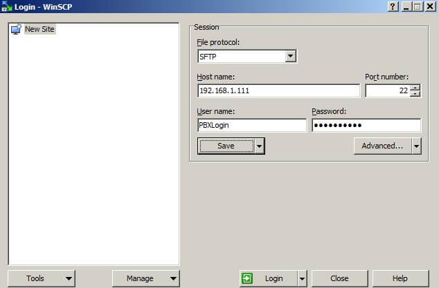 WinSCP для Asterisk