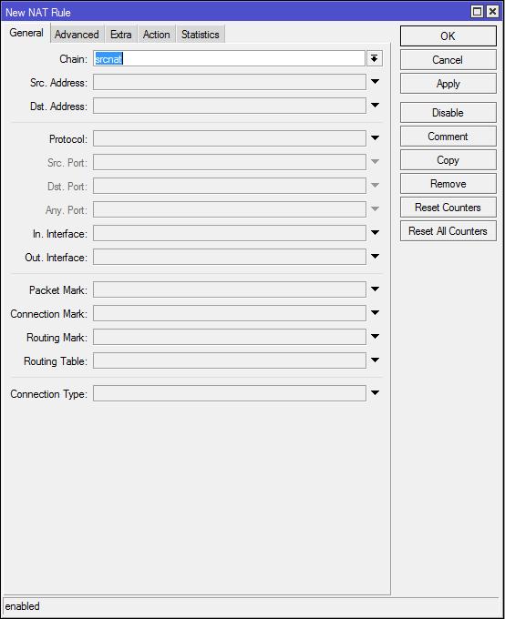 Добавить NAT правило на маршрутизаторе Mikrotik