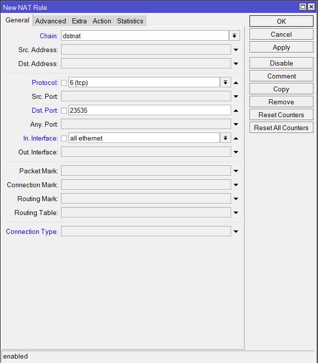 Пример настройки NAT на маршрутизаторе Mikrotik