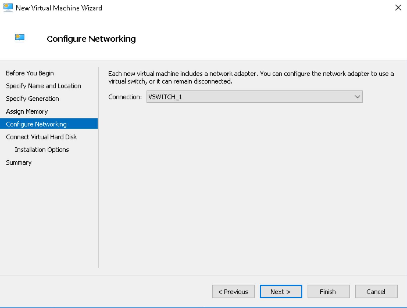 Выбор виртуального коммутатора в Hyper-V