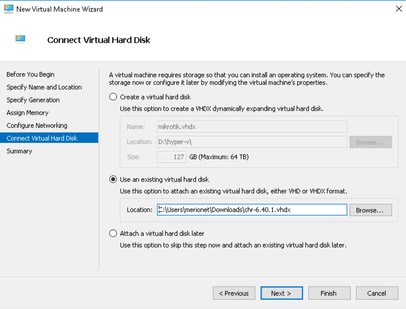 Выбор жесткого диска в Hyper-V