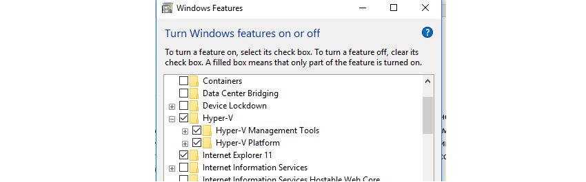 Включение Hyper-V через Windows Features