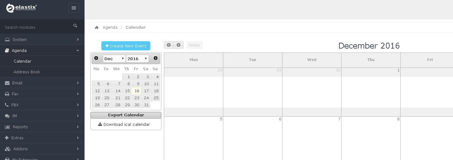 Модуль Calendar в Elastix 4