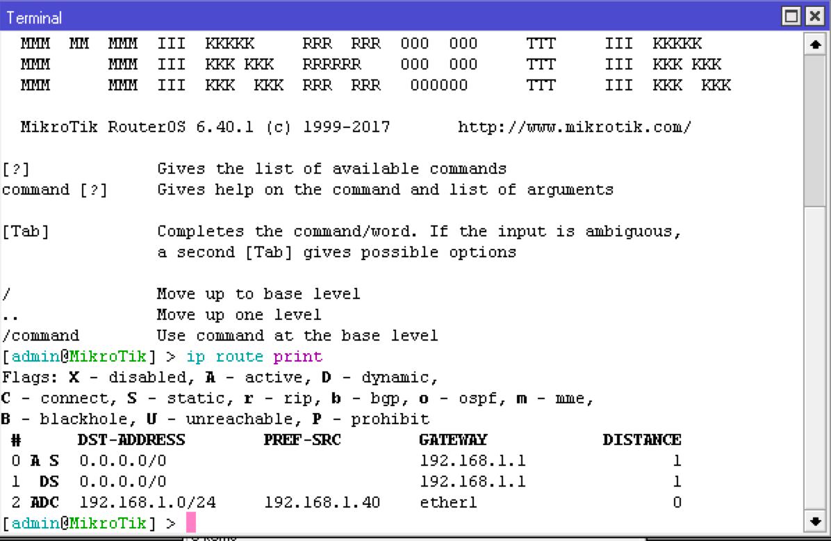 Вывод таблицы маршрутизации