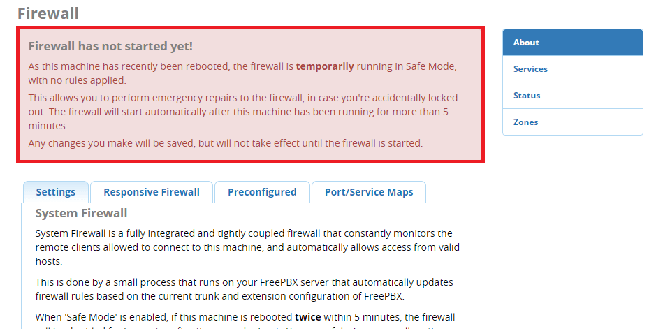 Firewall Safe Mode FreePBX 13