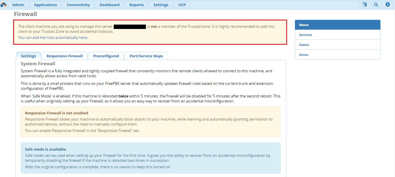 Список доверия IP - адресов в FreePBX 13