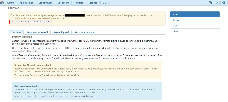 Добавить IP – адрес в фаервол на FreePBX 13