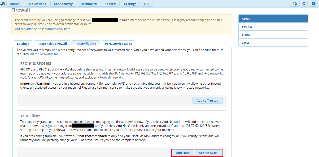 Добавить хост или подсеть в Firewall на FreePBX 13