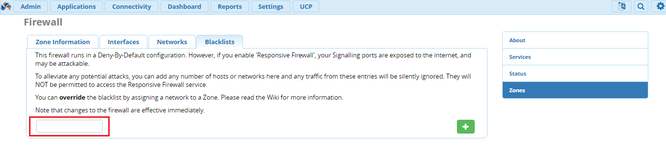 Ручная блокировка IP в FreePBX 13