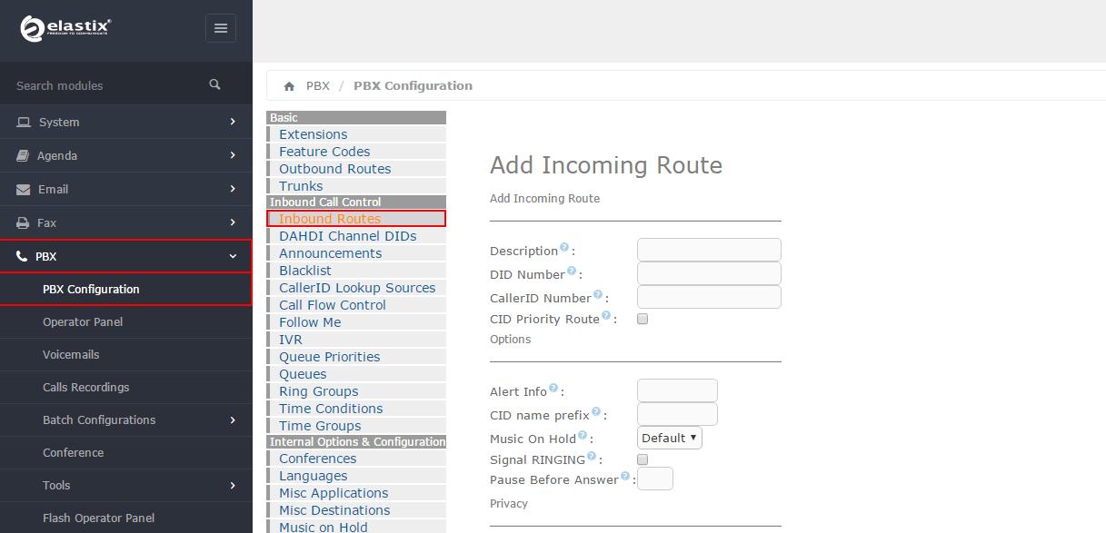 Настройка модуля Inbound Routes в Elastix 4