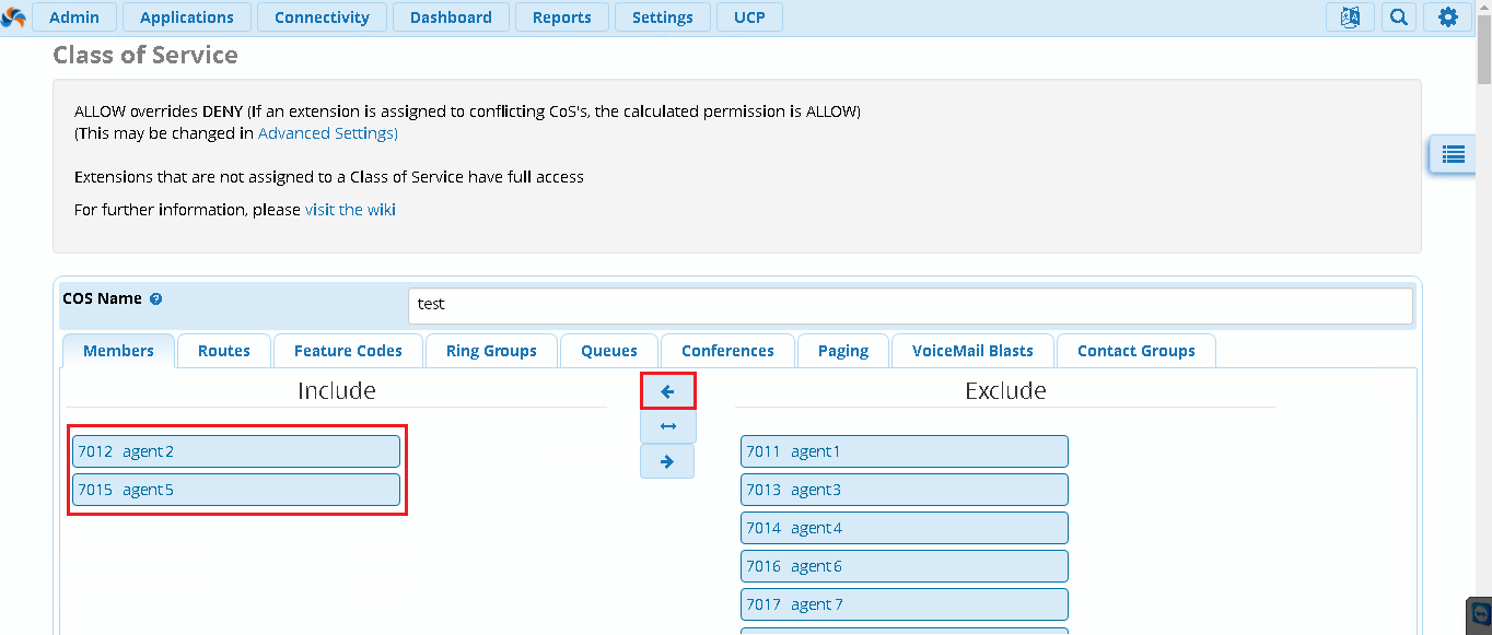 Правила настройки CoS в FreePBX 13