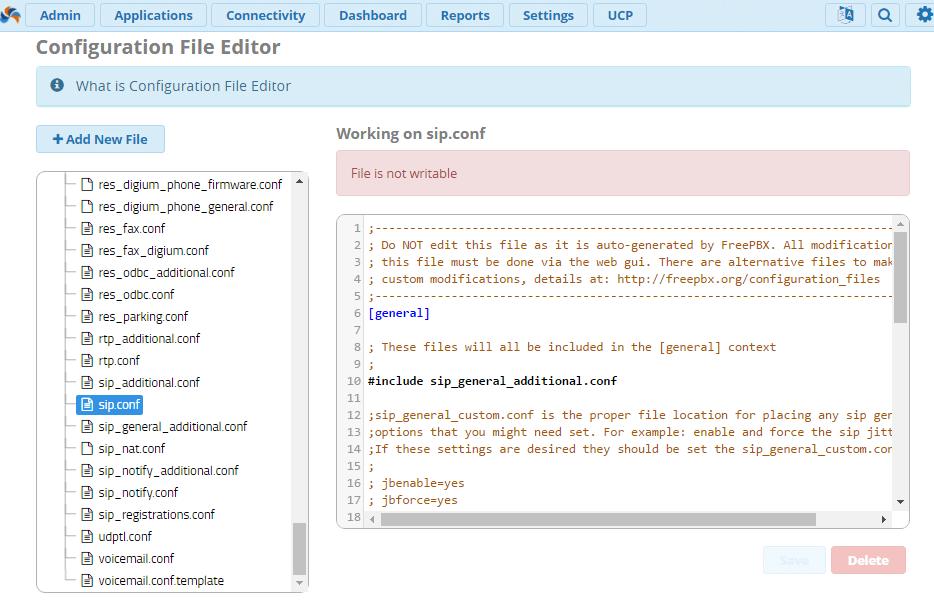 Модуль Configuration File Editor в FreePBX 13