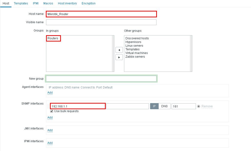 MikroTik как хост в Zabbix