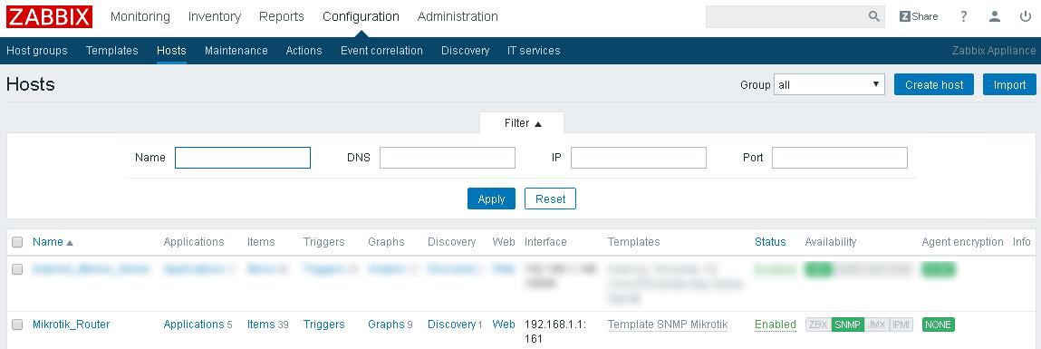 Mikrotik корректно добавлен на мониторинг в Zabbix
