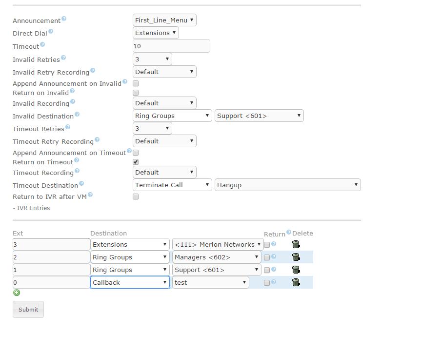 Пример настройки обратного вызова в Elastix 4