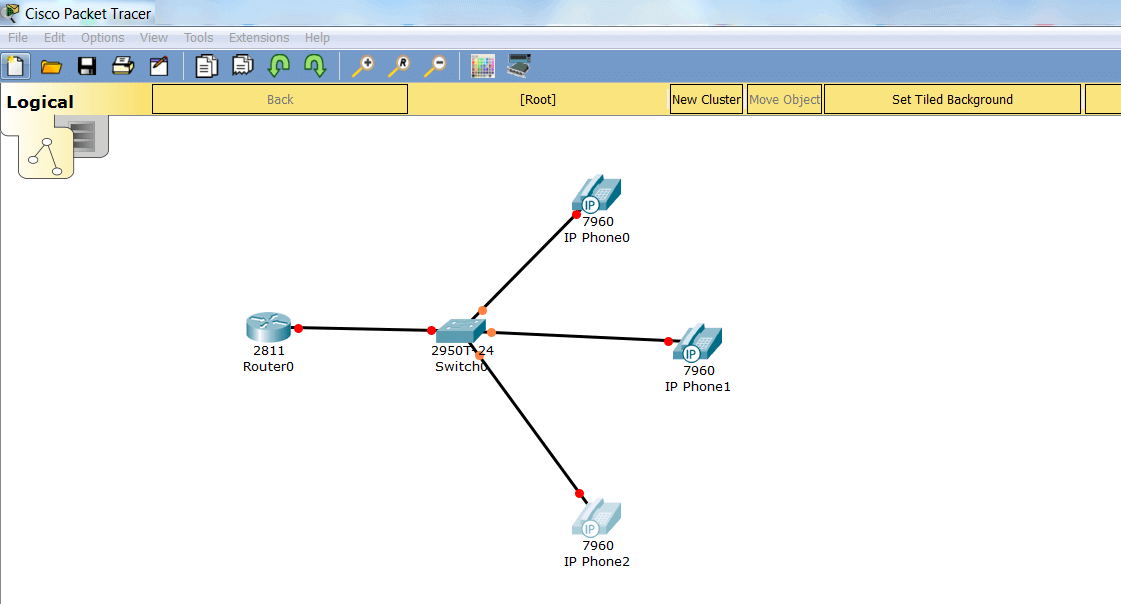 VoIP топология в Cisco Packet Tracer
