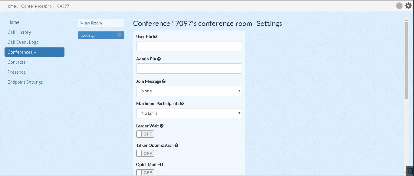 Настройка конференции в UCP