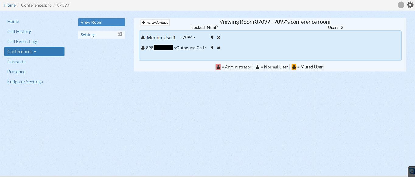 Управление комнатой в User Control Panel