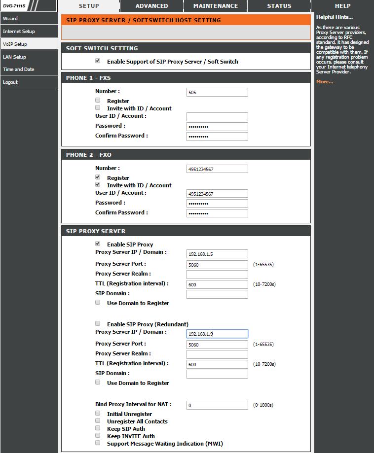 D-Link DVG-7111S настройка VoIP