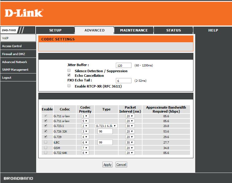 D-Link DVG-7111S приоритет голосовых кодеков