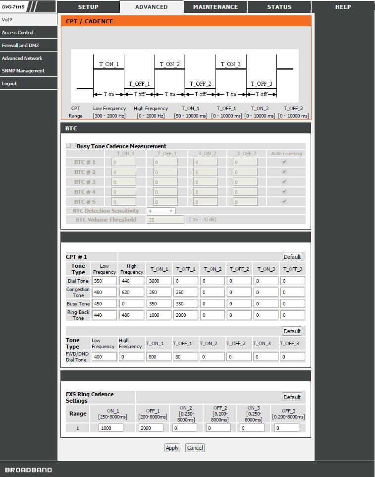 D-Link DVG-7111S определение Busy Tones