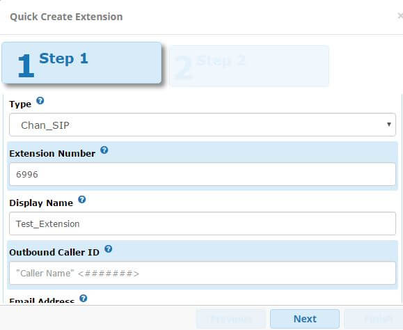 FreePBX13 Quick Create Extension