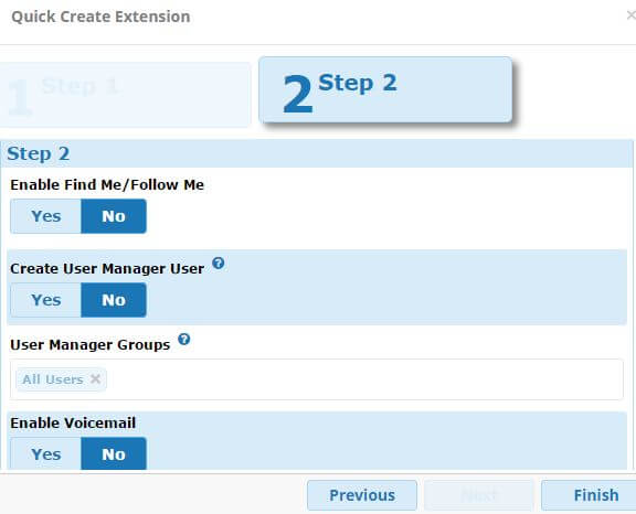 FreePBX13 Quick Create Extension Step 2