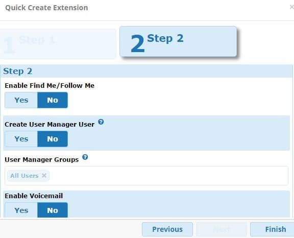 FreePBX13 Quick Create Extension Step 2