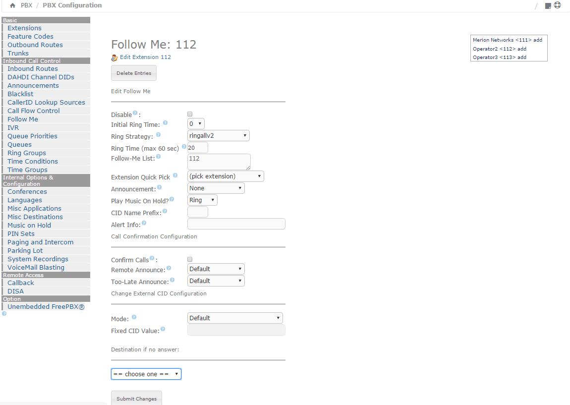 Опции настройки в модуле Follow Me для Elastix 4