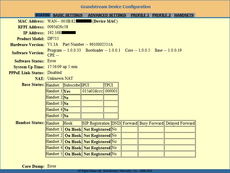 Grandstream DP715 вкладка Status