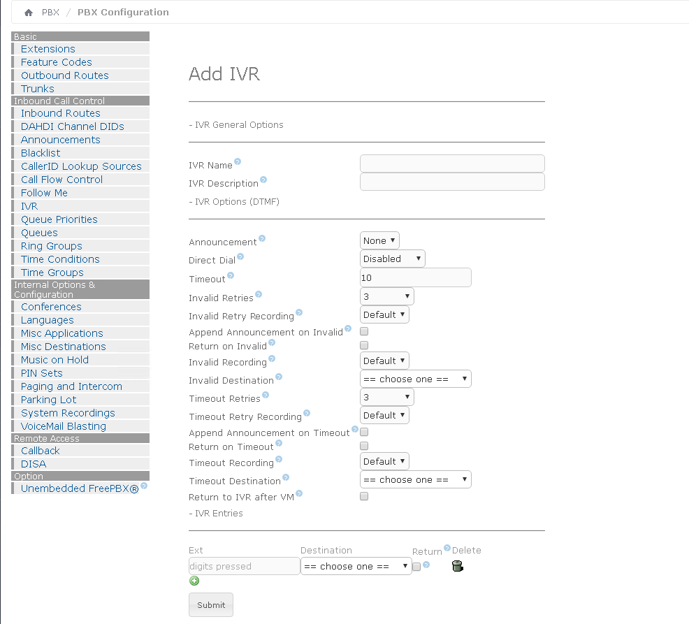 Опции конфигурации IVR на Elastix 4