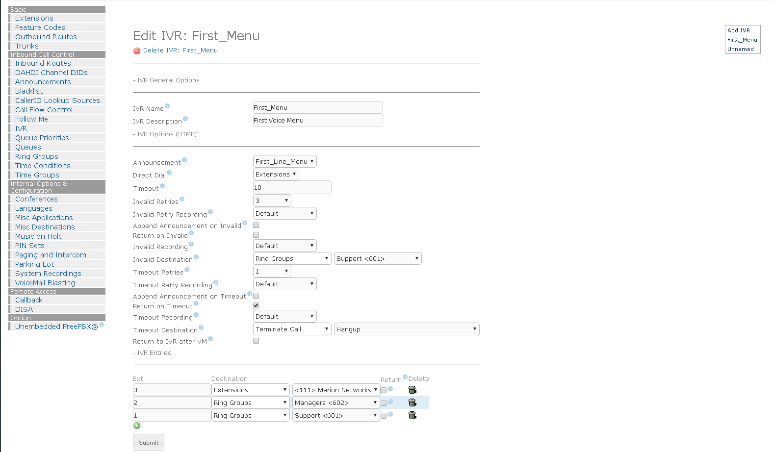 Пример настройки голосового меню IVR на Elastix 4