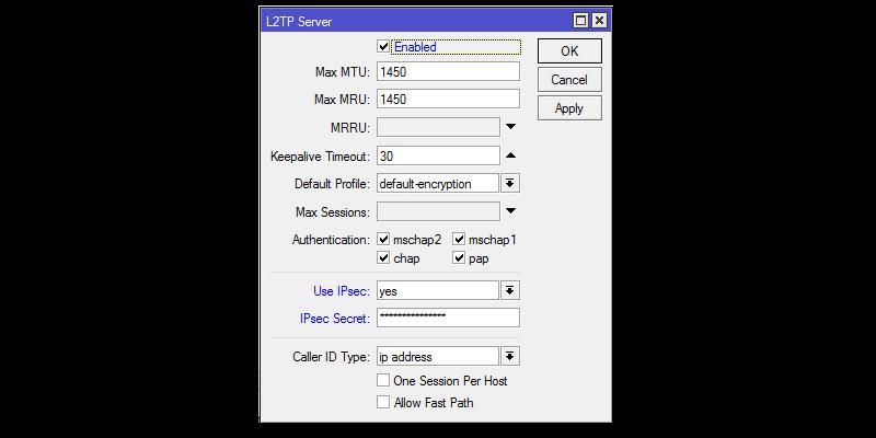 Включить L2TP сервер