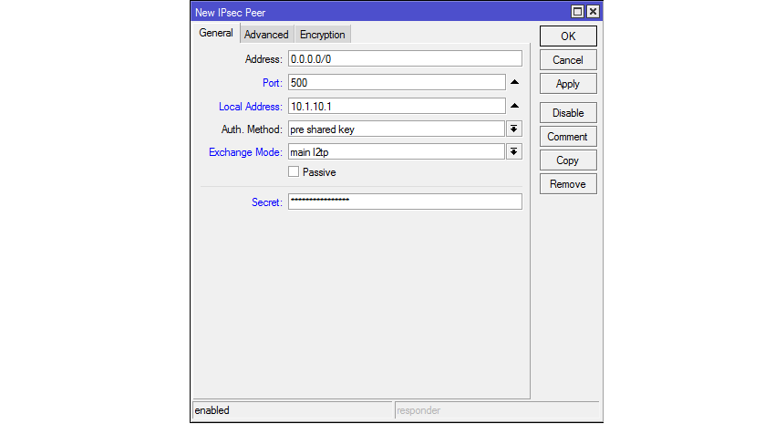 IPsec Peer для L2TP