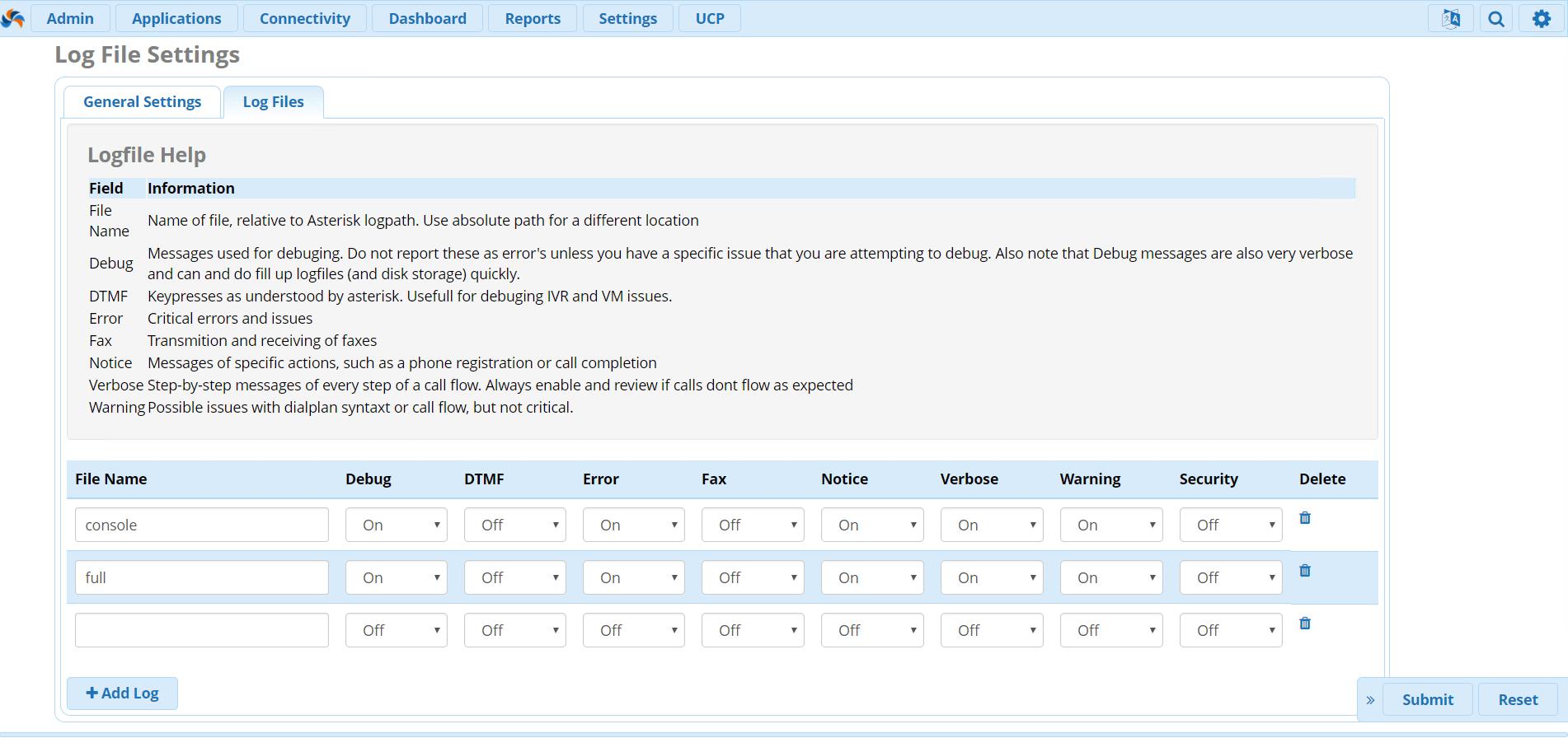 Опции настройки модуля Asterisk Logfile Settings