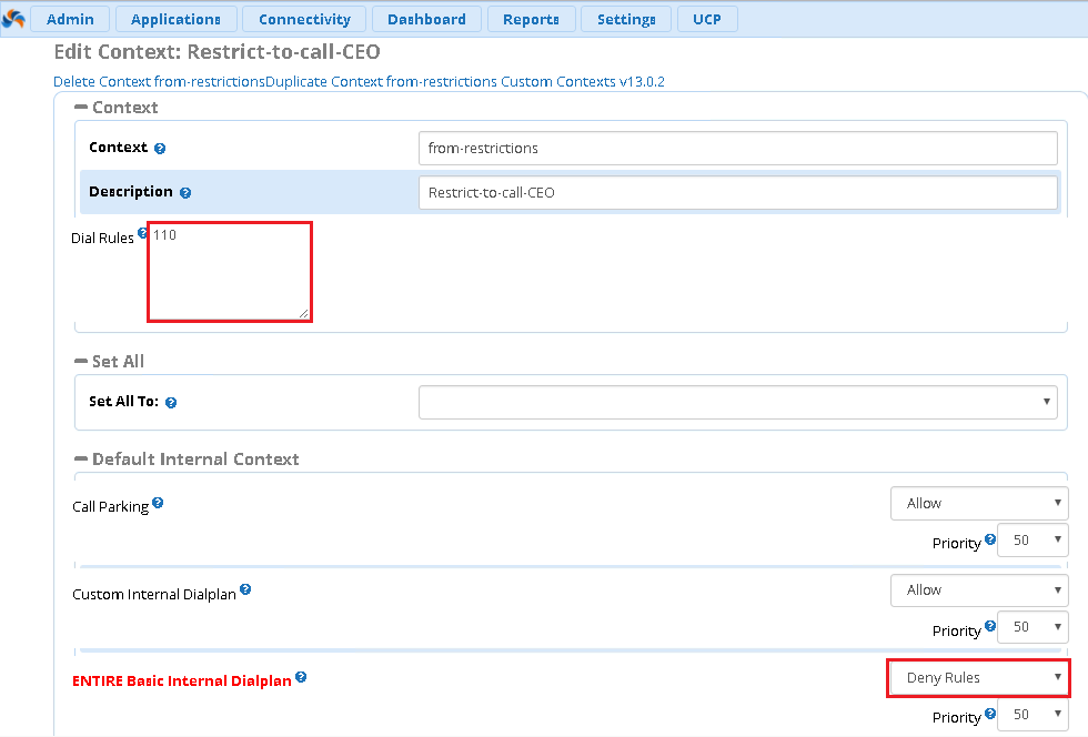 Запрет набора внутреннего номера в FreePBX 13