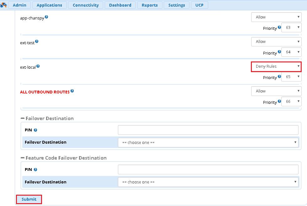 Запрет вызовов через custom context FreePBX