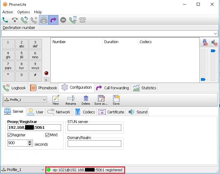 Статус регистрации PhonerLite