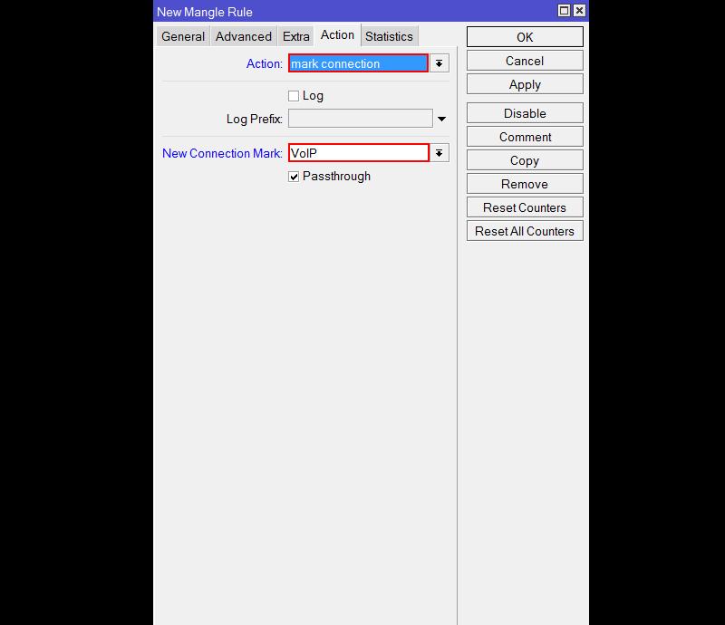 Маркировка соединения в Mikrotik