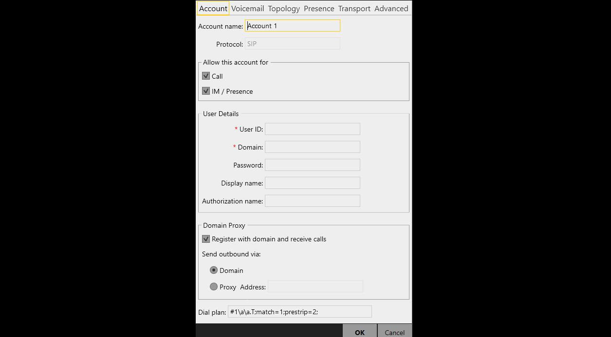 Создание учетной записи SIP в X-Lite